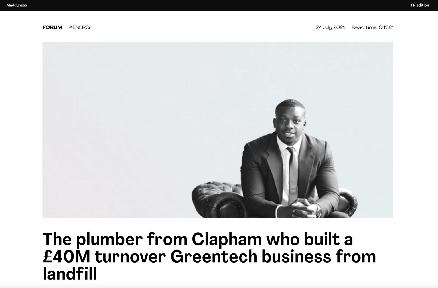 The plumber from Clapham who built a £40M turnover Greentech business from landfill —Maddyness